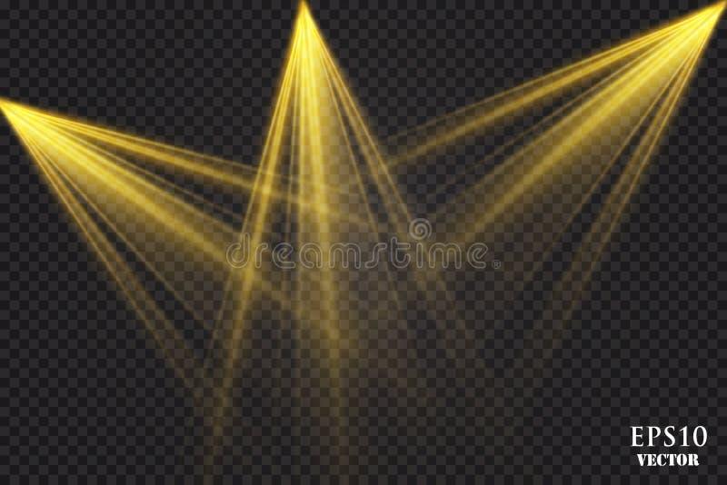 Vektorstrålkastare plats stor ljus deltagarekapacitet för effekter stock illustrationer