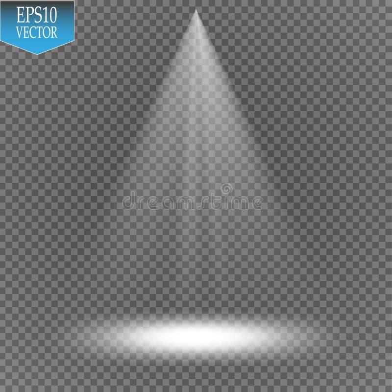 Vektorstrålkastare plats stor ljus deltagarekapacitet för effekter royaltyfri illustrationer