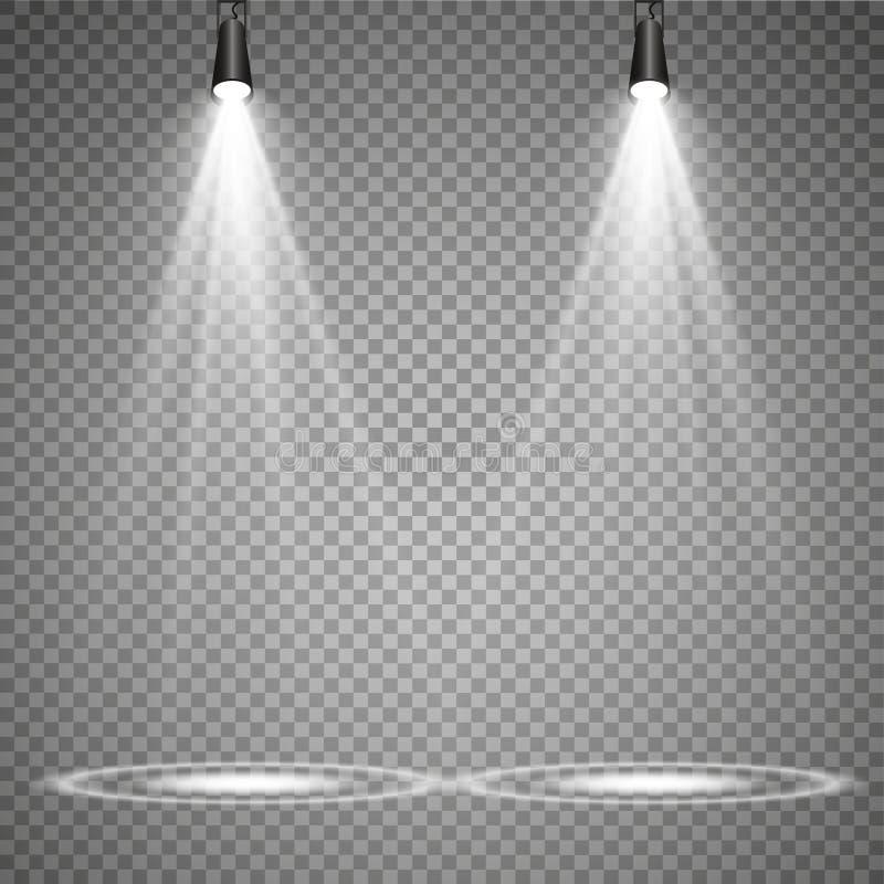 Vektorstrålkastare plats stor ljus deltagarekapacitet för effekter Ljus effekt för glöd stock illustrationer