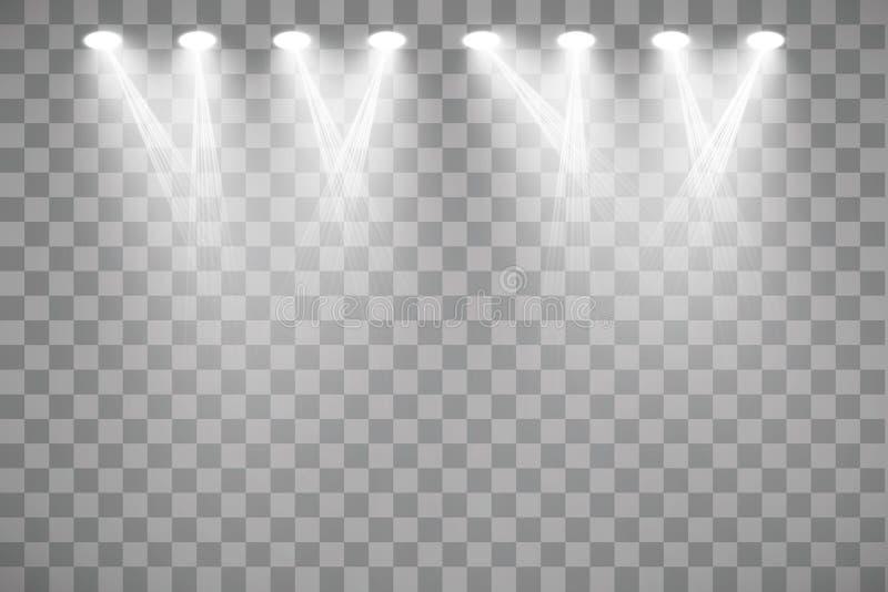 Vektorstr?lkastare plats stor ljus deltagarekapacitet f?r effekter stock illustrationer
