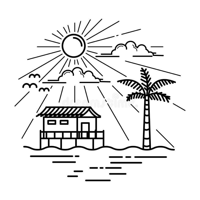 Vektorstrandhus royaltyfri illustrationer