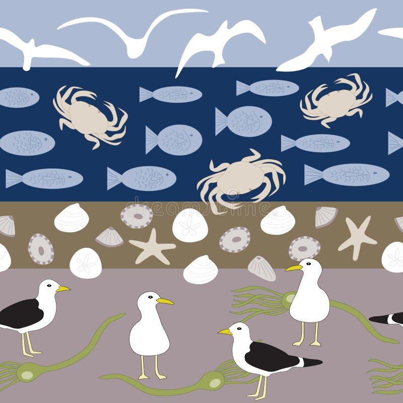 Vektorstrandplats med fåglar, skal, fisken, krabbor och den sömlösa repetitionmodellen för havsväxt vektor illustrationer