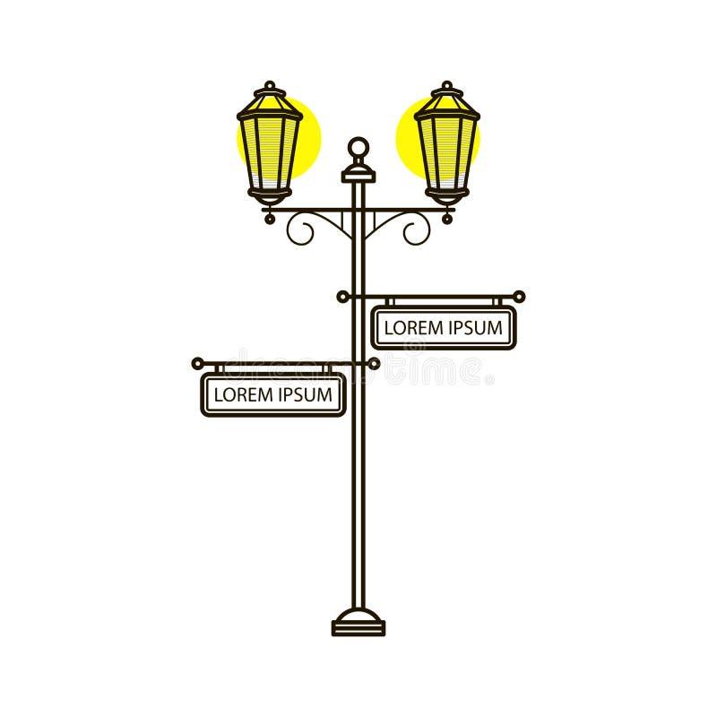 Vektorstreetlight i plan stil med tecknet Utomhus- ljus för tappning Yttre illuminationsenhet med pekaren Gatalyktstolpe stock illustrationer