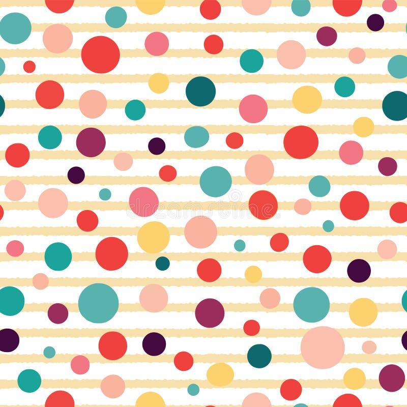 Vektorstreifen und nahtloses Muster der Punkte auf weißem Hintergrund lizenzfreie abbildung