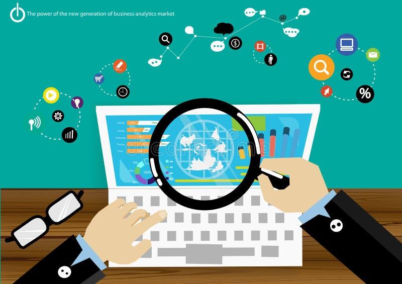 VektorStromerzeugungs-Unternehmensanalysemarktdaten mit modernen Kommunikationen handeln Diagrammanzeigenikonen schnell enthalten vektor abbildung