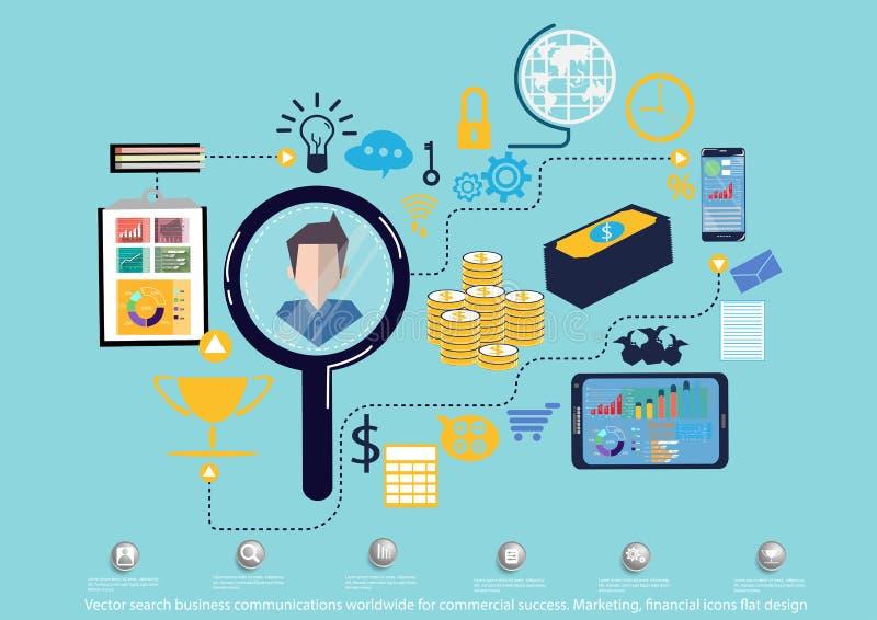 Vektorsuchgeschäftskommunikationen weltweit für Handelserfolg Vermarkten, flaches Design der Finanzikonen vektor abbildung