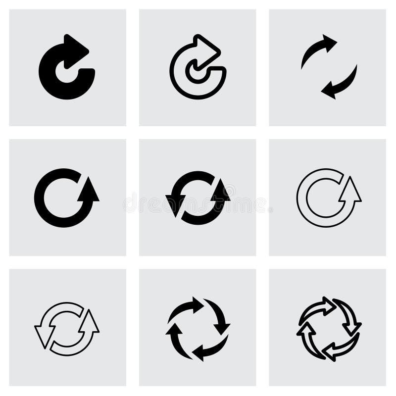 Vektorsvart förnyar symbolsuppsättningen royaltyfri illustrationer