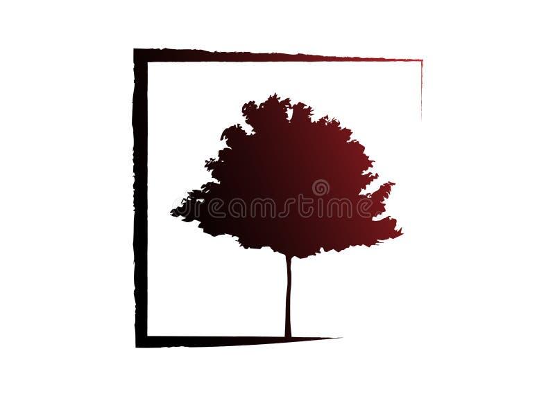 Vektorsvart och kontur för träd för röd lönn För lantgårdlogo för ekologi isolerad eller vit bakgrund för organisk vektor för des vektor illustrationer