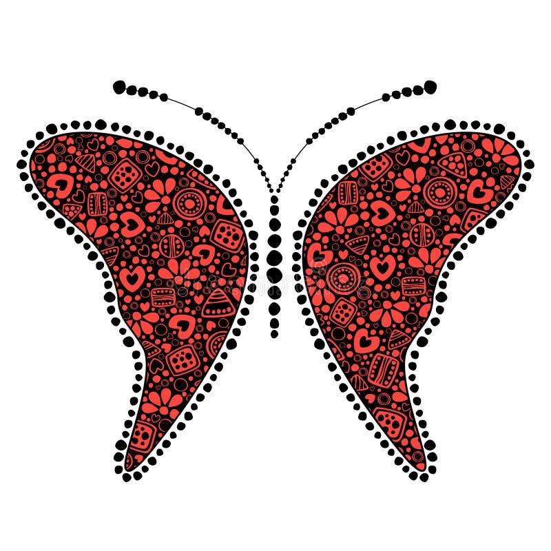Vektorsvart och röd dekorativ dekorativ illustration av fjärilen stock illustrationer