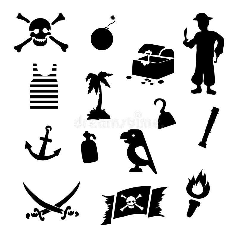 Vektorsvart piratkopierar symbolsuppsättningen stock illustrationer