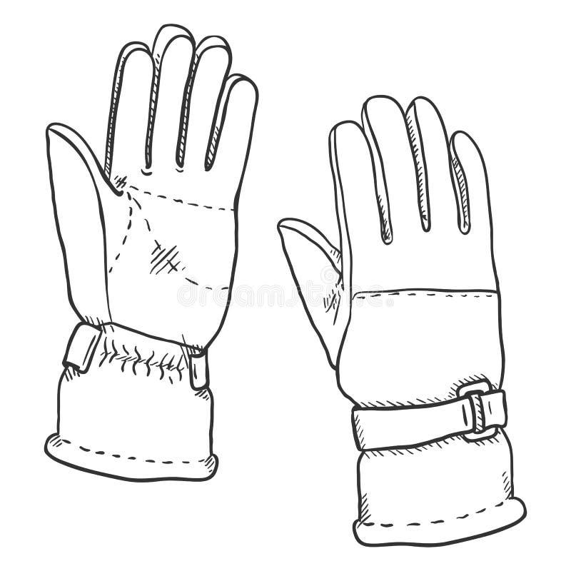 Vektorsvart skissar illustrationen - handskar för Extremal vintersportar vektor illustrationer