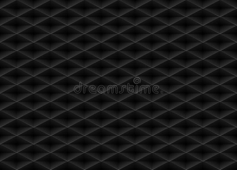 Vektorsvart utföra i relief bakgrund för det plast- rastret för modellen sömlös Ändlös textur för diamantformcell Geometriskt web vektor illustrationer