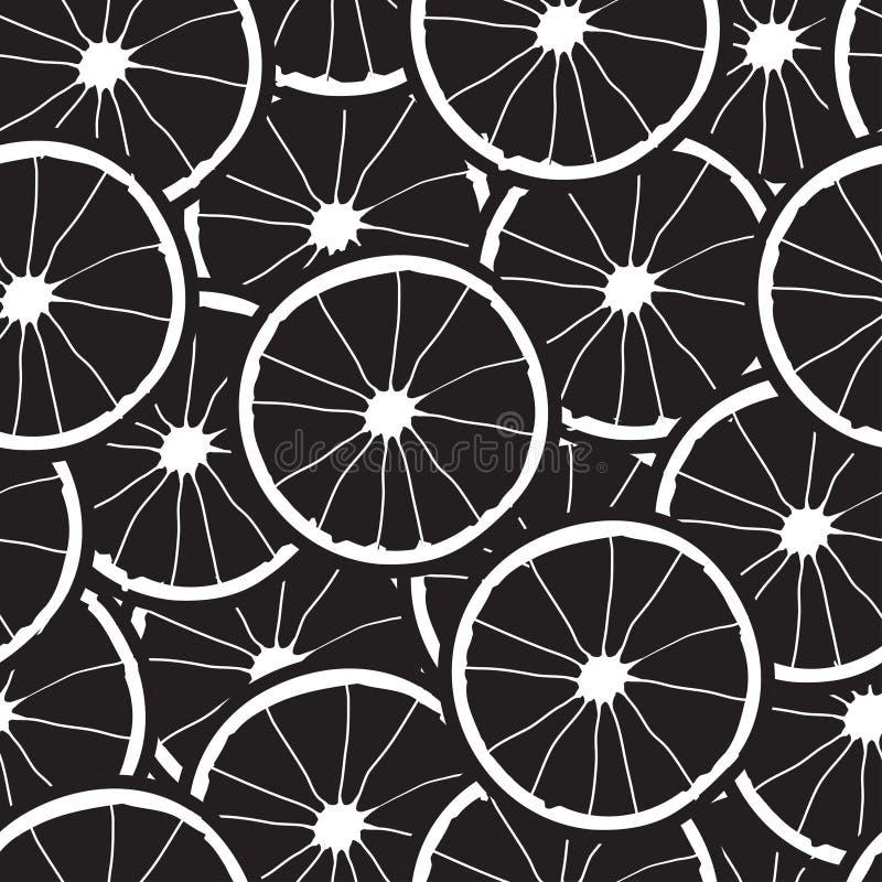 Vektorsvartbakgrund med vita orange skivor seamless textur vektor illustrationer