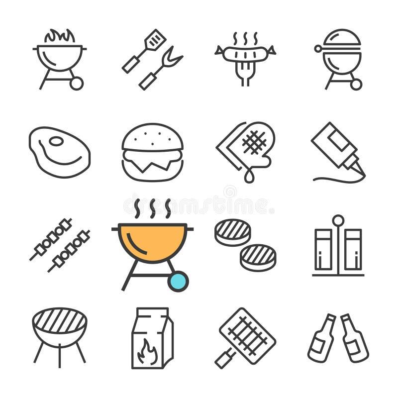 Vektorsvartlinje grillfestsymbolsuppsättning Inkluderar sådana symboler som BBQ, gallret, öl, kött vektor illustrationer