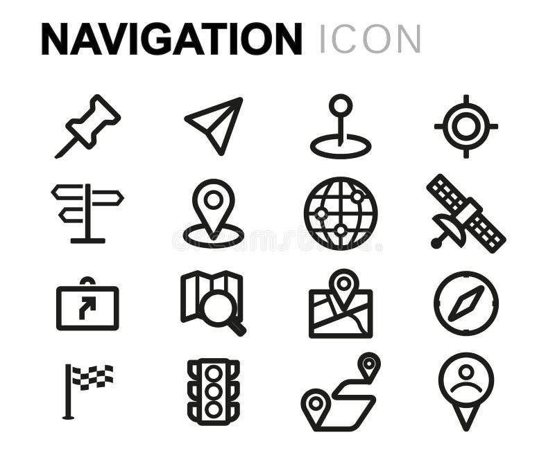 Vektorsvartlinje navigeringsymbolsuppsättning royaltyfri illustrationer