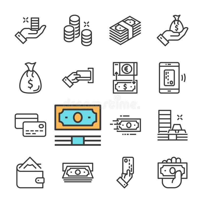 Vektorsvartlinje pengarsymbolsuppsättning Plånbok ATM, hand med pengar, mynt, kontokort stock illustrationer