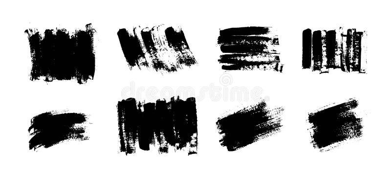 Vektorsvartmålarfärg, färgpulverborsteslaglängd, borste Klottra textur royaltyfri illustrationer
