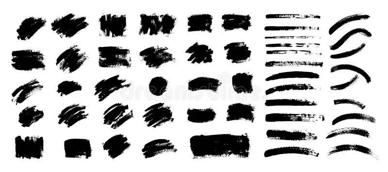 Vektorsvartmålarfärg, färgpulverborsteslaglängd, borste Klottra textur stock illustrationer