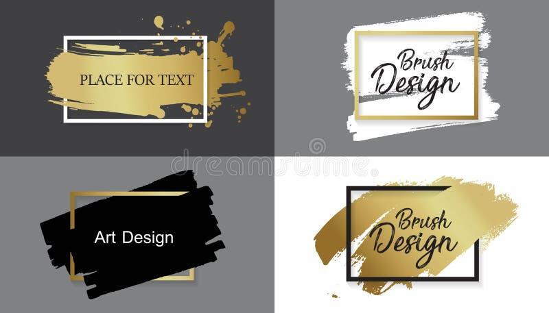 Vektorsvartmålarfärg, färgpulverborsteslaglängd, linje eller textur Smutsa ner den konstnärliga designbeståndsdelen, boxas, ramen stock illustrationer