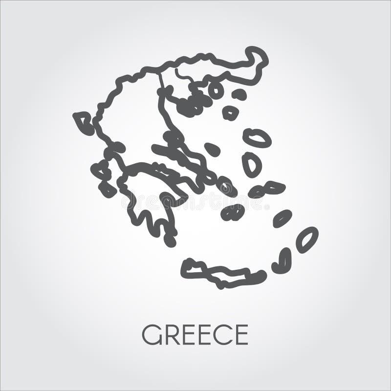 Vektorsymbol av den Grekland översikten Serier av länder i översikt utformar med häftet för olika designprojekt vektor illustrationer