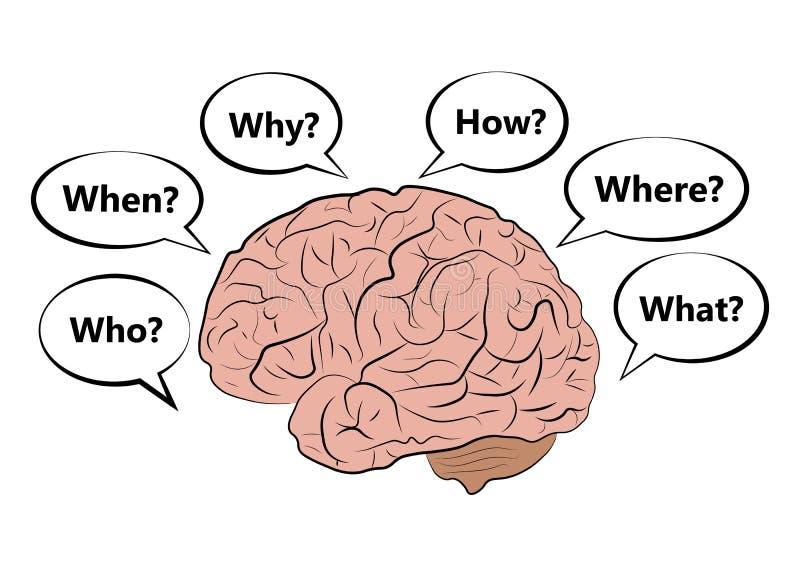 Vektorsymbol av den mänskliga hjärnan med frågor vektor illustrationer