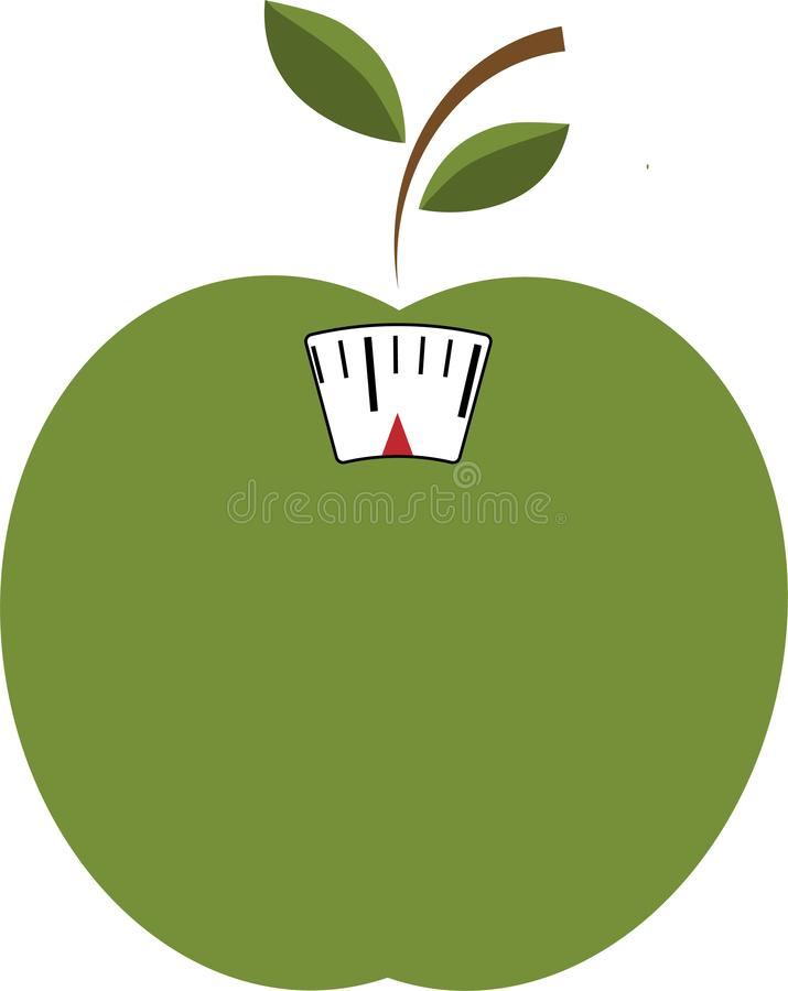 Vektorsymbol av det gröna äpplet med skalan Viktförlust eller bantar begrepp vektor illustrationer
