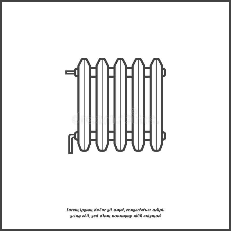 Vektorsymbol av elementet Batteri för rumuppvärmningsymbol på vit isolerad bakgrund Lager som grupperas för lätt redigerande illu vektor illustrationer