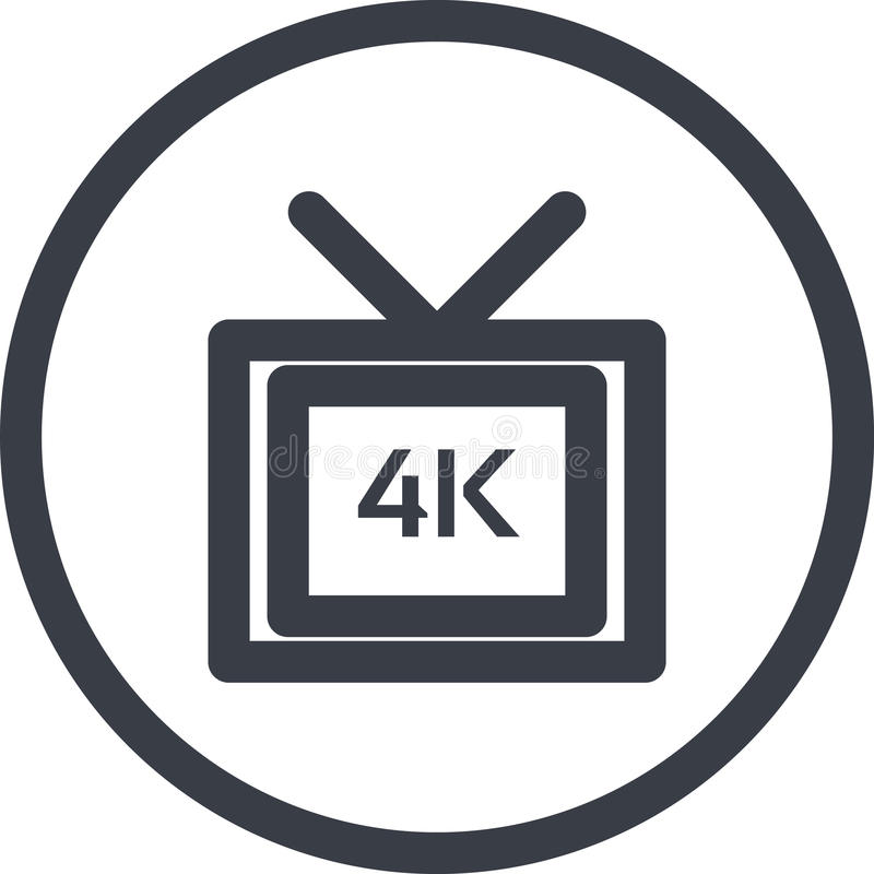 Vektorsymbol av en full video formate för HD 4k i linjen konststil Perfekt PIXEL royaltyfri illustrationer