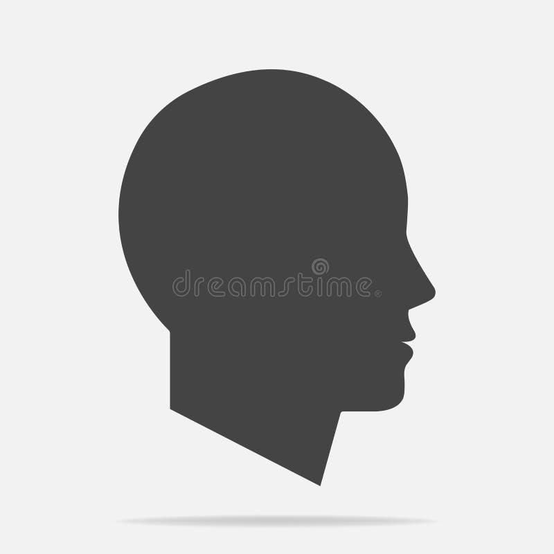 Vektorsymbol av en mans huvud Illustration av ett man- eller kvinnahuvud vektor illustrationer