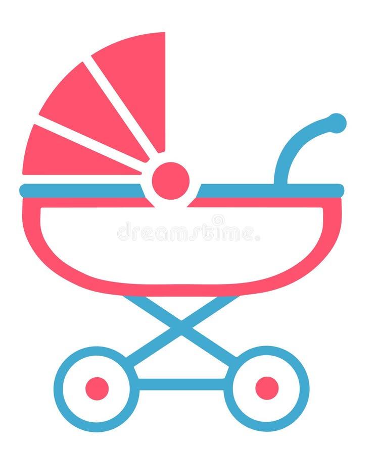 Vektorsymbol av en rosa färg- och baby med hjärtfelsittvagn vektor illustrationer