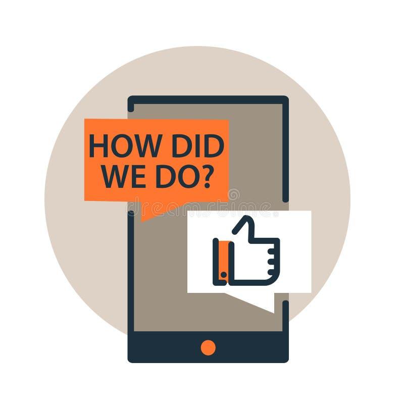 Vektorsymbol av förfrågan för återkoppling, granskningdialog på smartphonen Plan linje designstil royaltyfri illustrationer