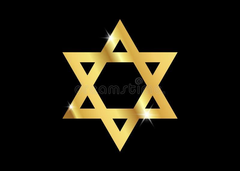 Vektorsymbol av judendomreligionen, guld- davidsstjärna vektor illustrationer