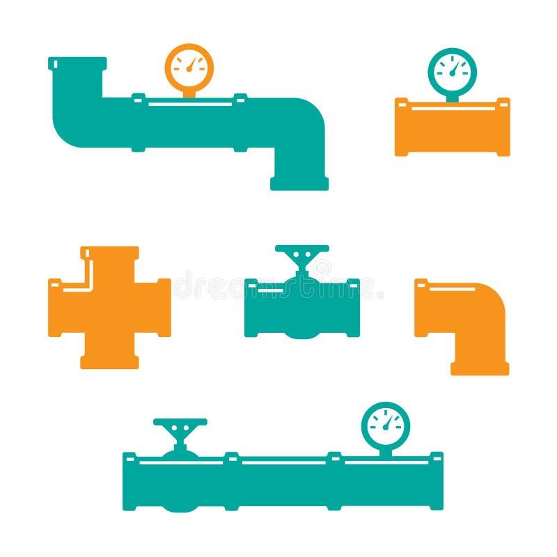 Vektorsymbol av kontaktdonet för vattenrör stock illustrationer