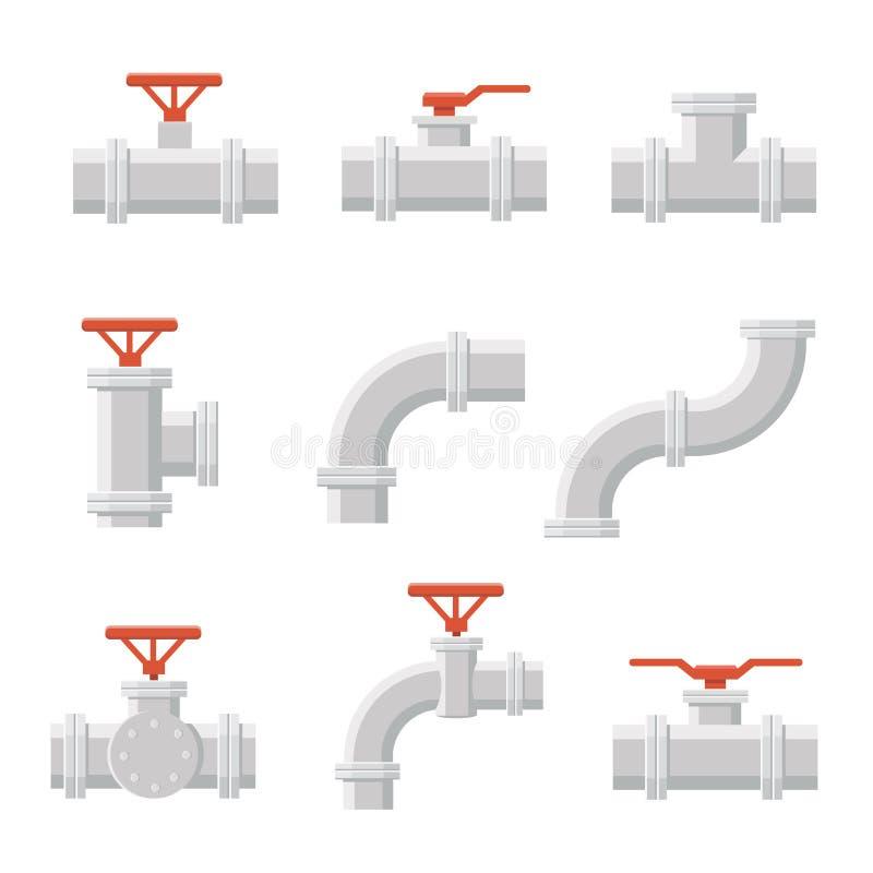 Vektorsymbol av kontaktdonet för vattenrör för rörmokeri och leda i rörarbete vektor illustrationer