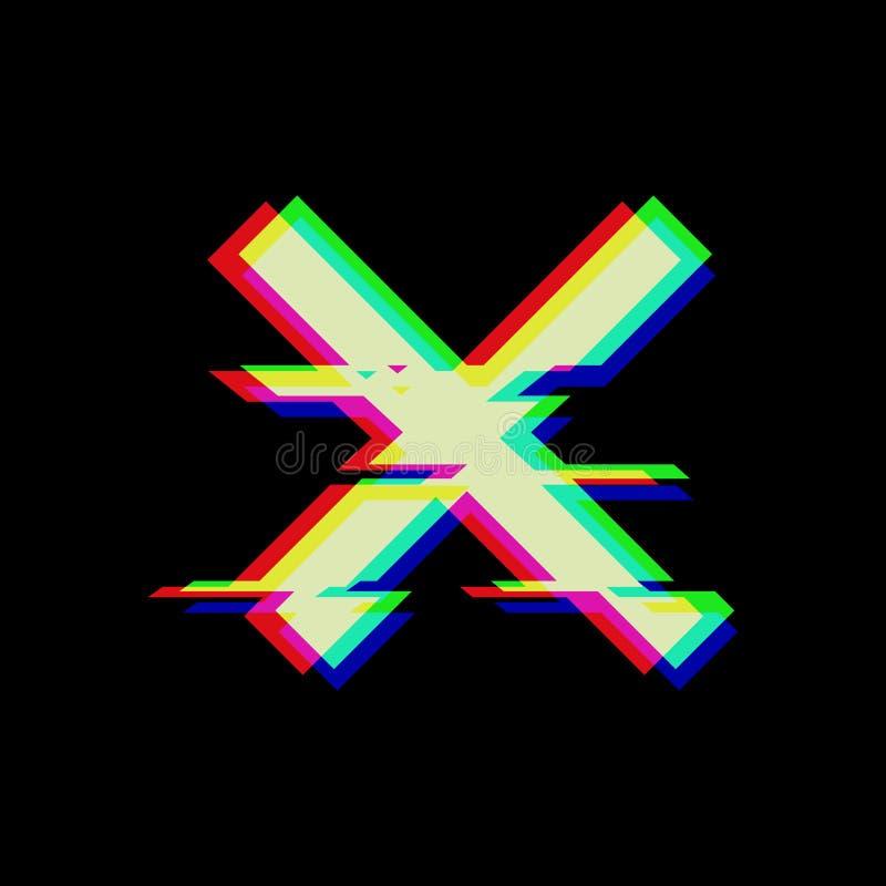 Vektorsymbol av korset i tekniskt felstil Geometrisk glitched symbol som isoleras på svart bakgrund Modernt digitalt PIXEL royaltyfri illustrationer