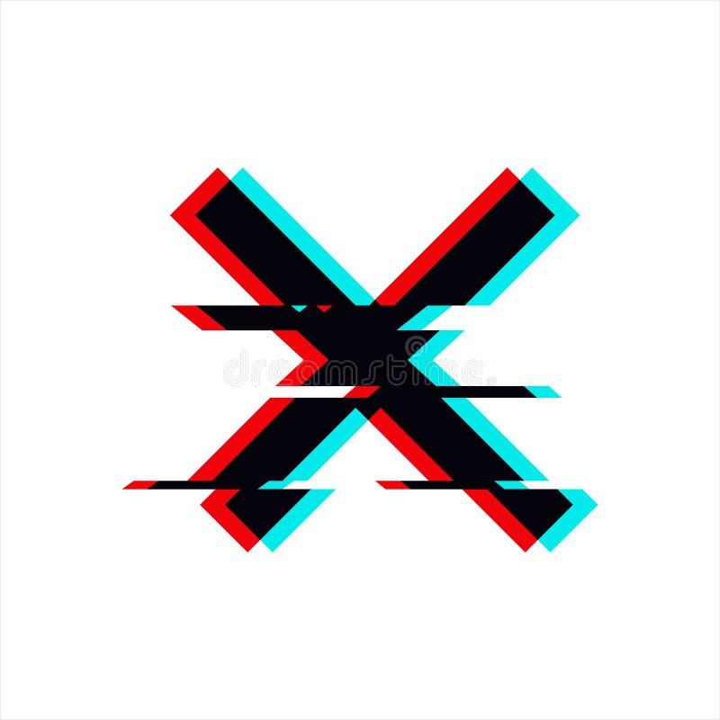 Vektorsymbol av korset i tekniskt felstil Geometrisk glitched symbol som isoleras på vit bakgrund Modernt digitalt PIXEL royaltyfri illustrationer