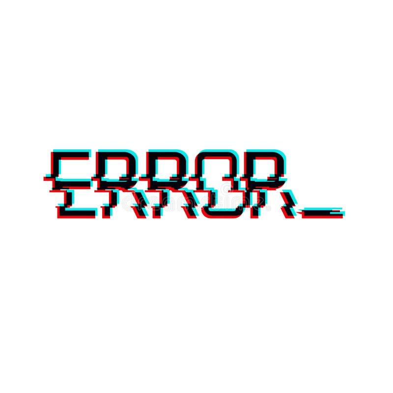 Vektorsymbol av ordet FEL i tekniskt felstil Geometriska bokstäver glitched symbolen som isolerades på vit bakgrund Digital PIXEL royaltyfri illustrationer