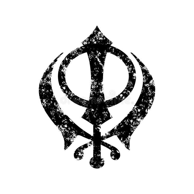 Vektorsymbol av sikhismen För Sikhism symbol spititually, sakral khala Lycklig vaisakhi Designmall för affischen, baner royaltyfri illustrationer