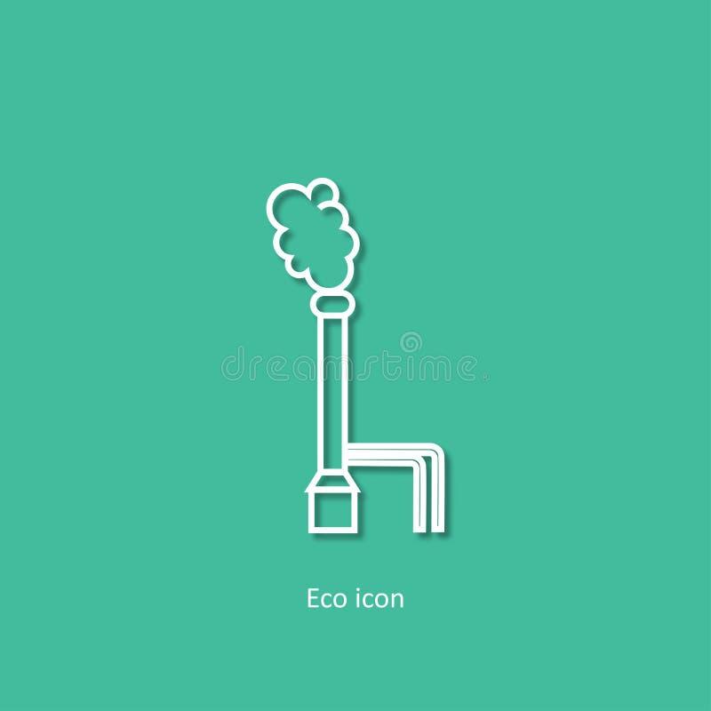 Vektorsymbol av stationen för geotermisk energi Alternativt förnybart begrepp för elektricitetsutveckling Geotermisk kraftverk D stock illustrationer