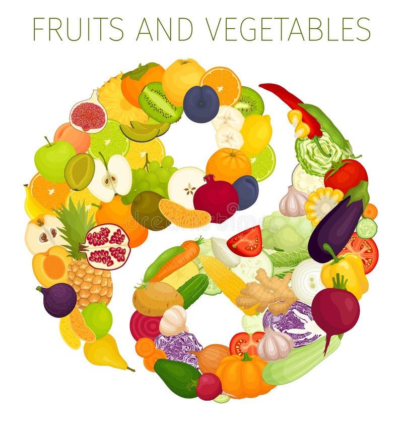 Vektorsymbol av yin och yang från att äta bär fruktt grönsaker royaltyfri illustrationer