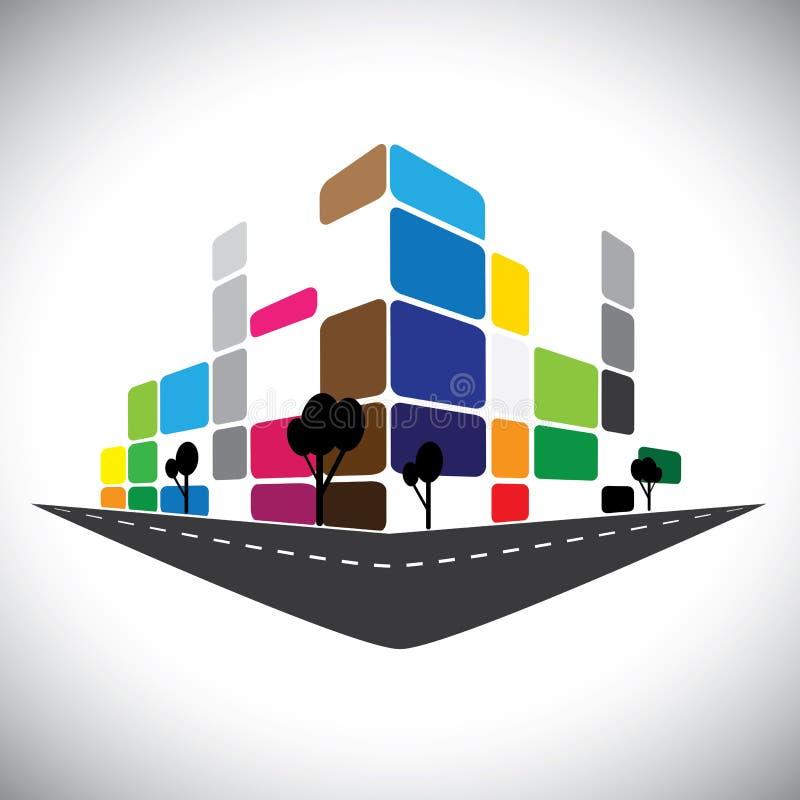 Vektorsymbol - byggnad av den hem- lägenheten royaltyfri illustrationer