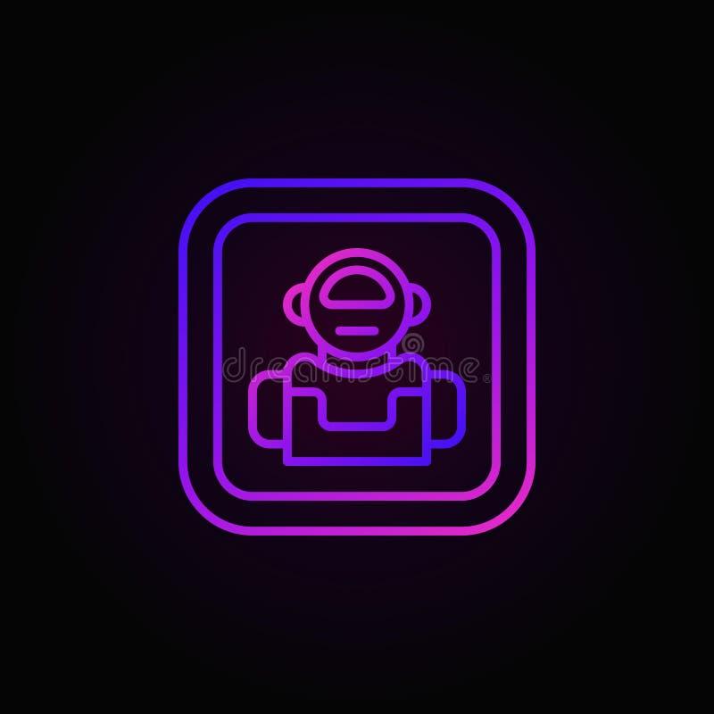 Vektorsymbol eller knapp för robot färgrik i linjen stil vektor illustrationer