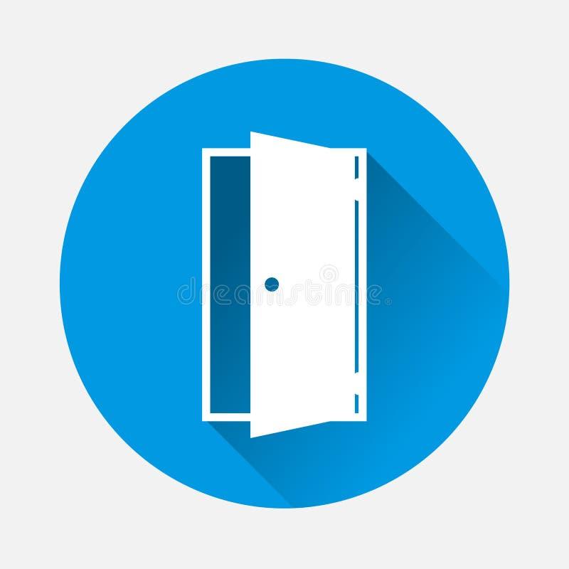 Vektorsymbol för öppen dörr på blå bakgrund Plan indica bildsymbol vektor illustrationer