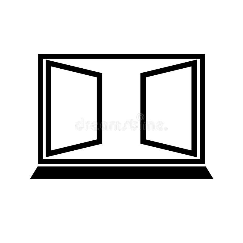 Vektorsymbol för öppet fönster royaltyfri illustrationer