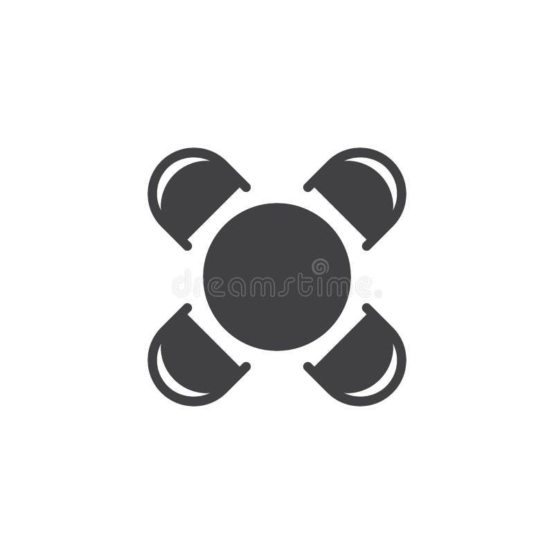 Vektorsymbol för rund tabell och för bästa sikt för stolar stock illustrationer