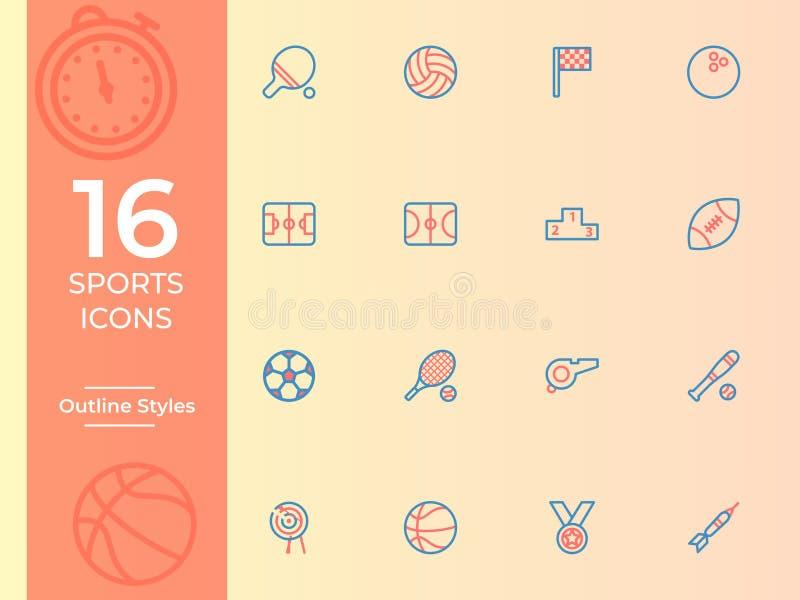 Vektorsymbol för 16 sportar, sportsymbol enkel översikt, översiktssymboler royaltyfri illustrationer