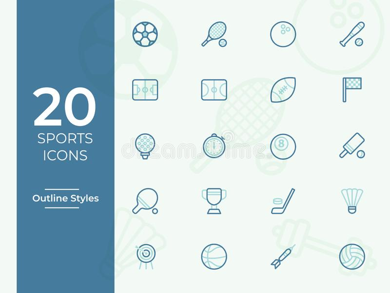 Vektorsymbol för 20 sportar, sportsymbol Modern enkel översikt, översiktsvektor vektor illustrationer