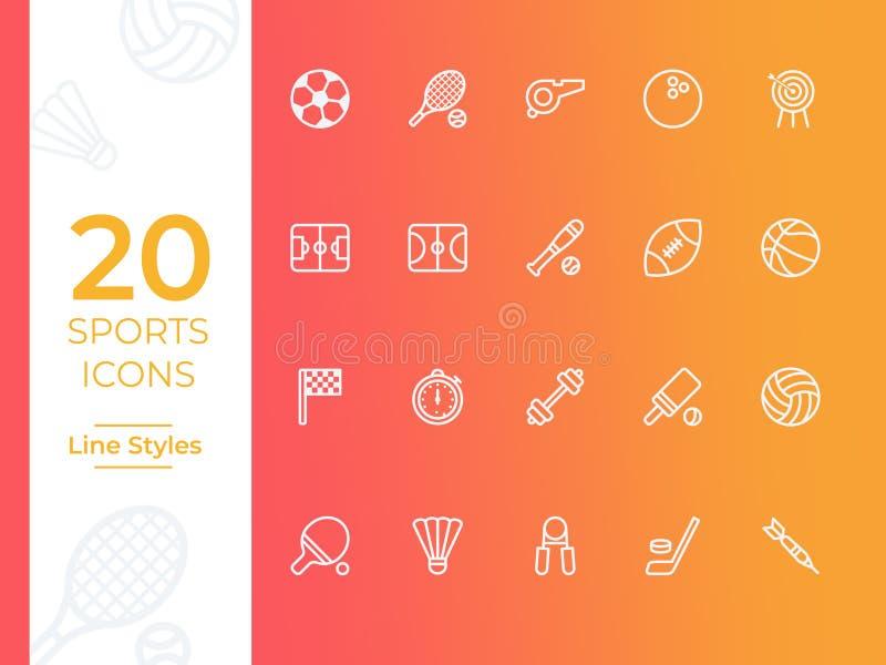 Vektorsymbol för 20 sportar, sportsymbol Modern enkel översikts-, översiktsvektorillustration för webbplats eller mobil app stock illustrationer