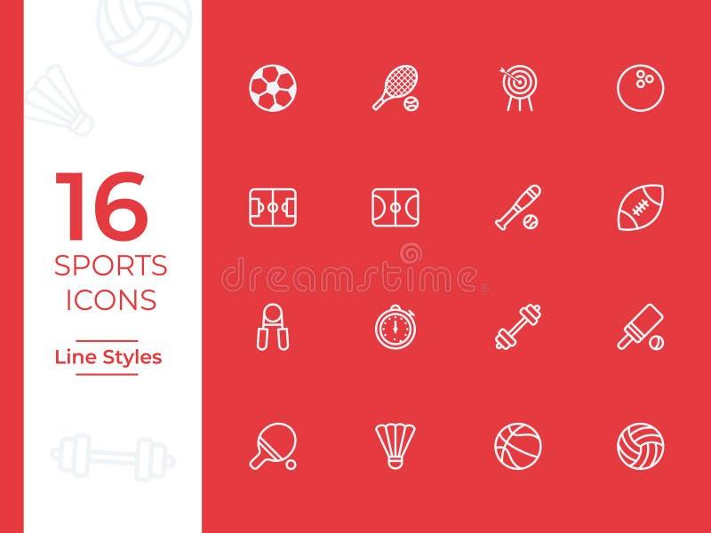 Vektorsymbol för 16 sportar, sportsymbol Moderna enkla översikts-, översiktsvektorsymboler för webbplats eller mobil app vektor illustrationer
