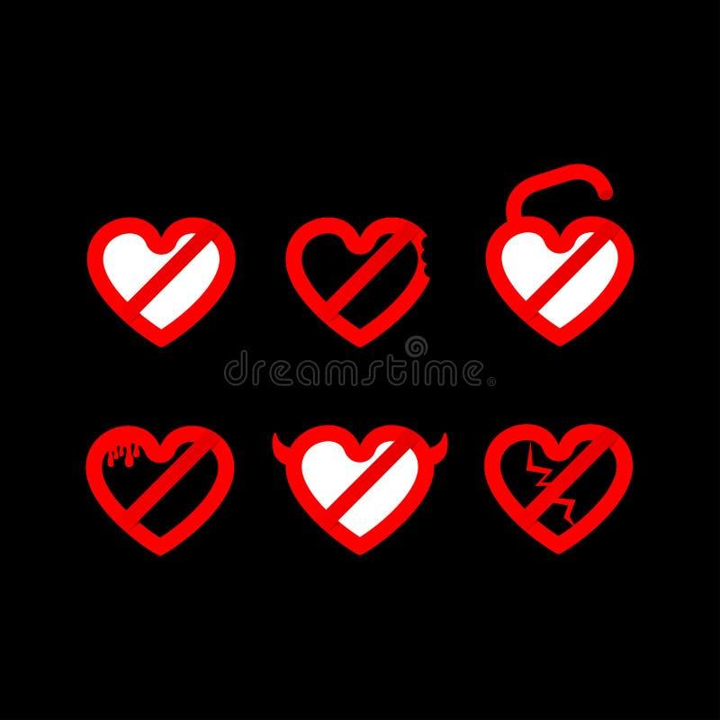 Vektorsymbol f?r bruten hj?rta Ställ in av röd hjärta - symbollogo royaltyfri illustrationer